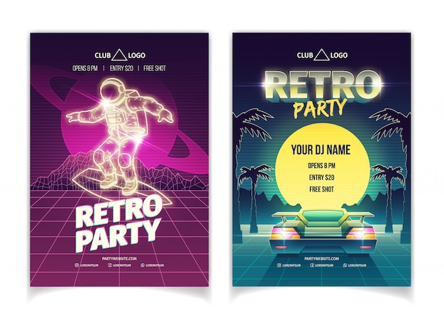 Retro music party poster set Free Vector