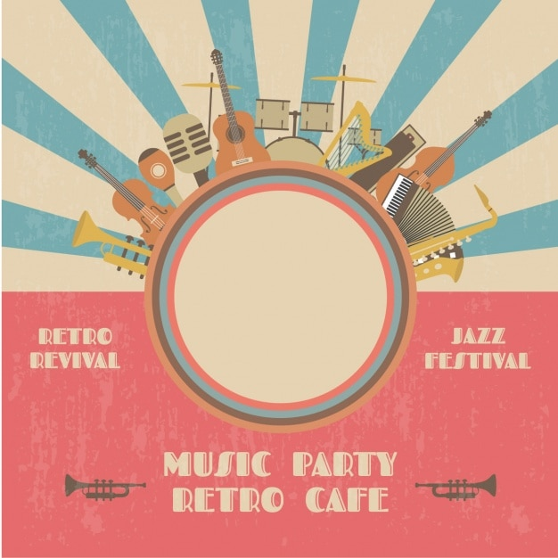Retro music party poster Free Vector