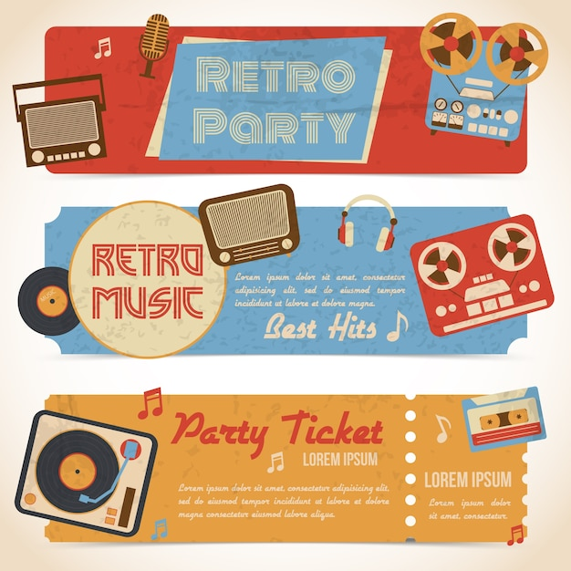 Retro music party ticket banners with analog gadgets isolated vector illustration Free Vector