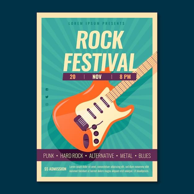 Modello di poster di musica retrò con chitarra elettrica Vettore gratuito