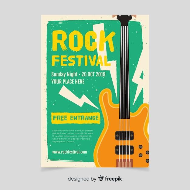 Modello di poster di musica retrò Vettore gratuito