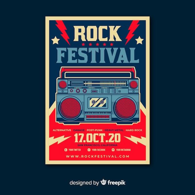 Retro music poster template Free Vector