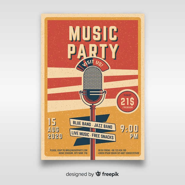 Retro music poster template Premium Vector