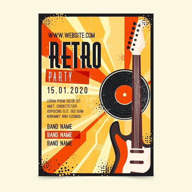 Retro music poster template Free Vector