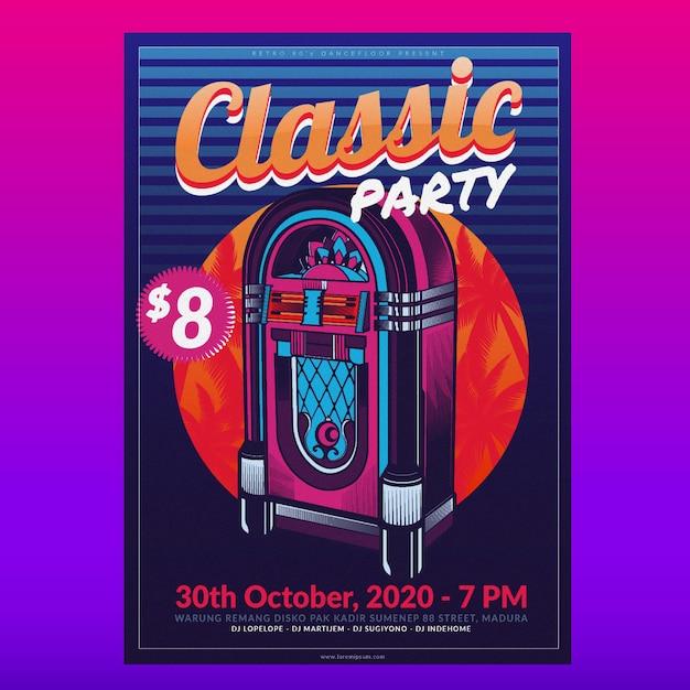 Retro music poster template Premium Vector