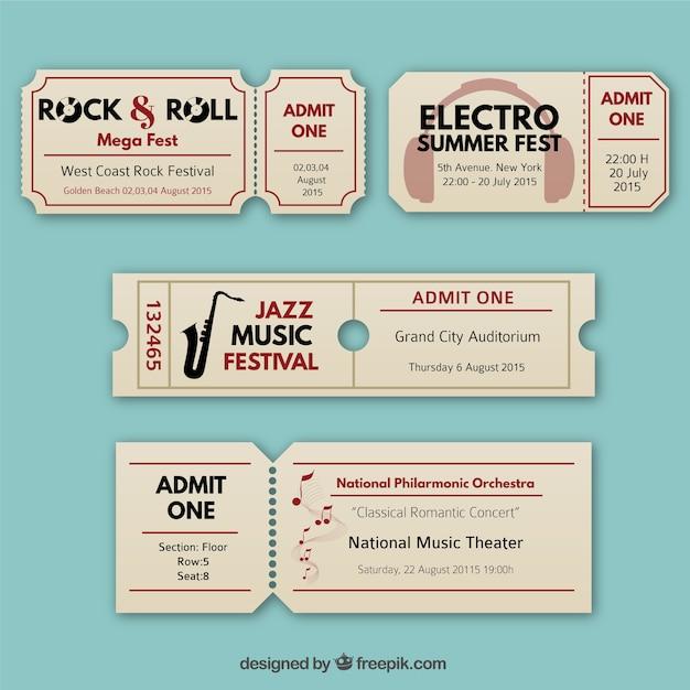 Retro music tickets Free Vector