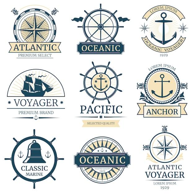 Retro nautical vector labels, badges, logos and emblems Premium Vector