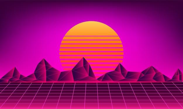Retro Neon Sun Background Vector