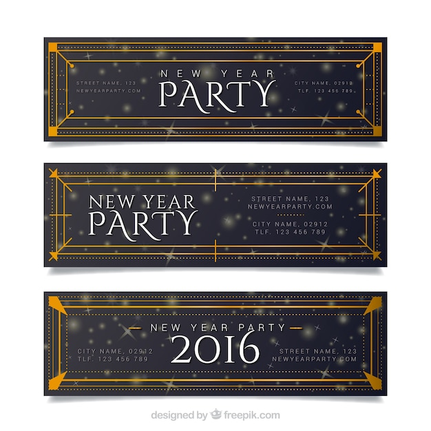 Retro new year party banners Free Vector