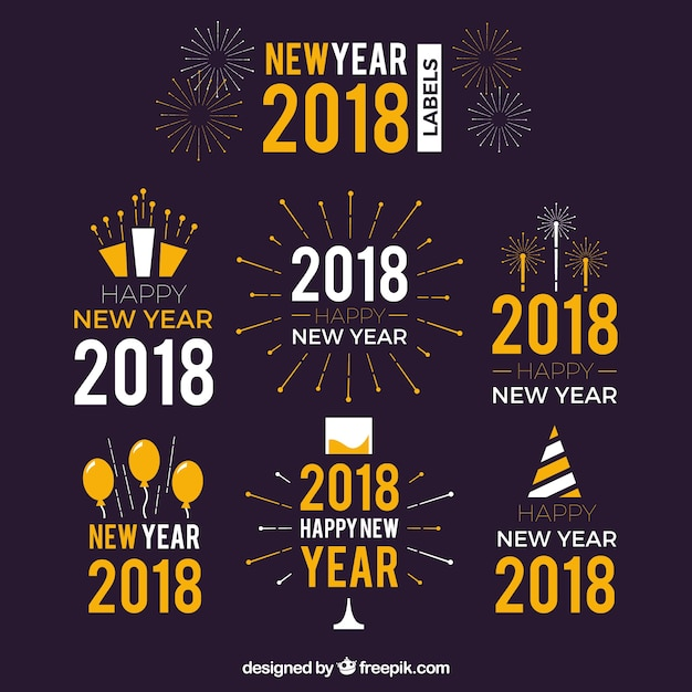 Retro new year stickers 2018 Vector | Free Download