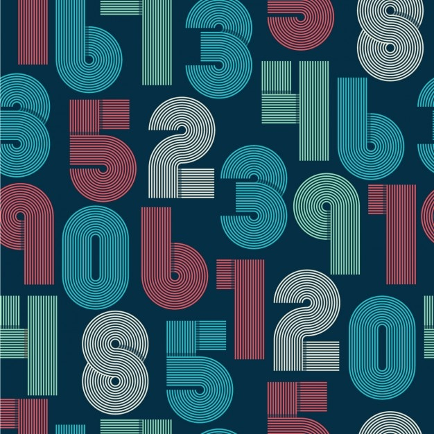 Retro numbers background Free Vector