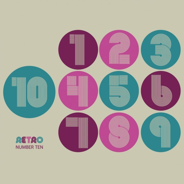 Retro numbers design Vector | Free Download