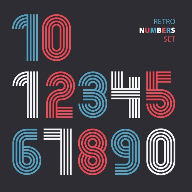 Retro numbers made with lines Vector | Free Download