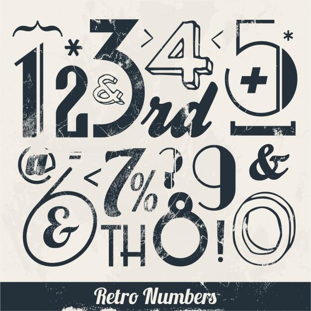 Retro numbers Free Vector