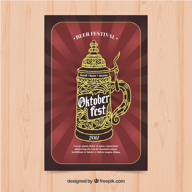 Retro oktoberfest brochure with decorative beer