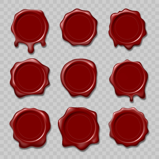 Retro and old seal wax stamps. Premium Vector