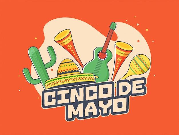 Ретро оранжевый фон постер или дизайн флаера для синко де майо Premium векторы