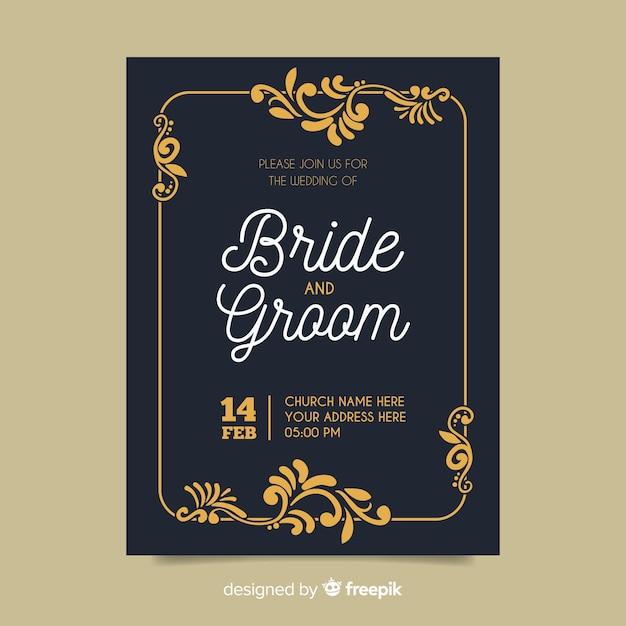 Retro ornamental wedding invitation template Free Vector