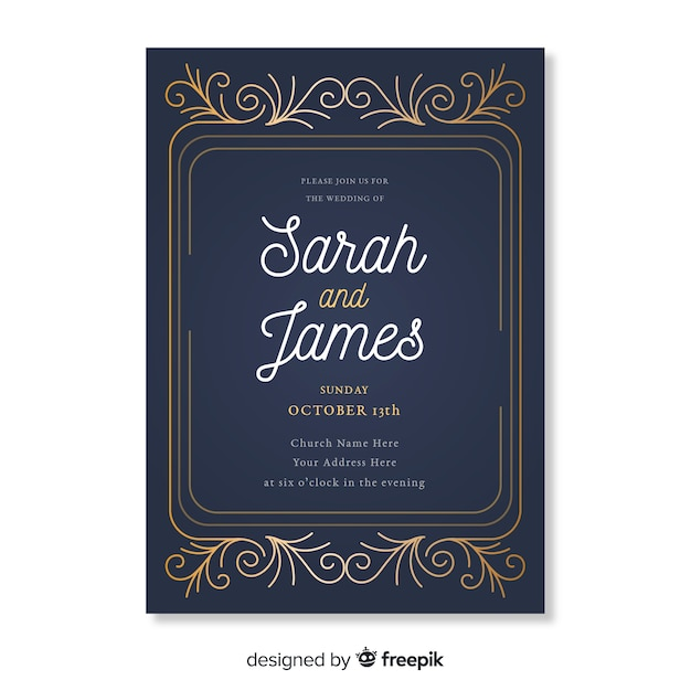 Retro ornamental wedding invitation template Free Vector