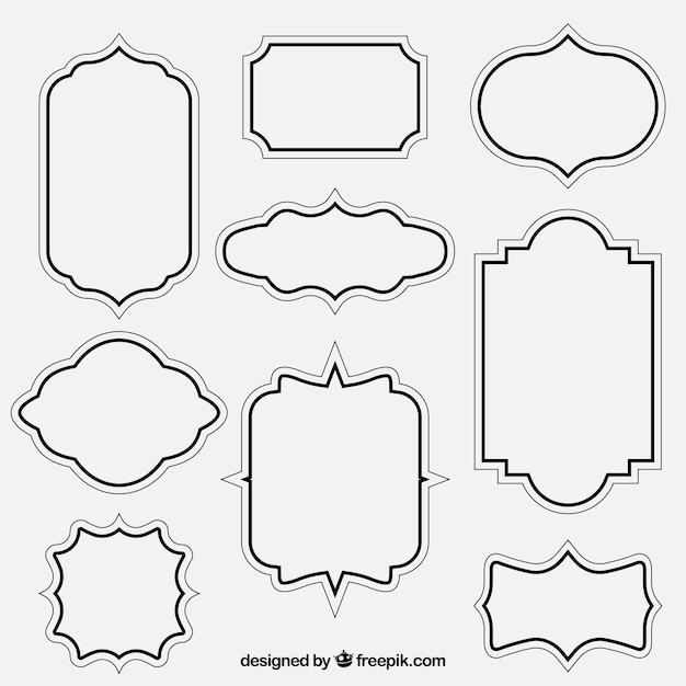 Glasses Frame Outline : Retro outlined frames Vector Free Download