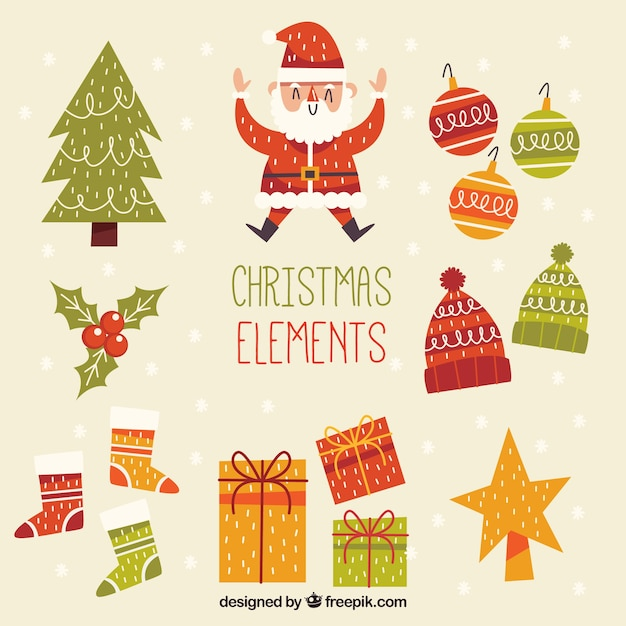 Retro Pack Of Hand Drawn Decorative Christmas Elements