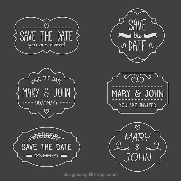 Retro pack of blackboard wedding labels