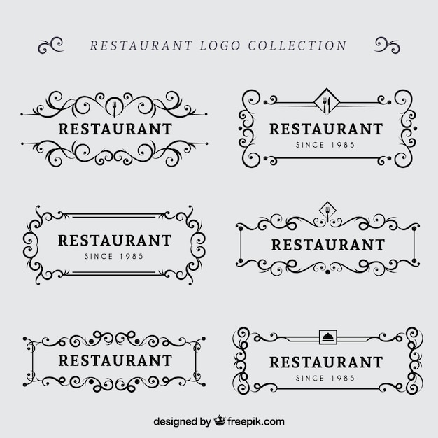 Retro pack of classic restaurant logos