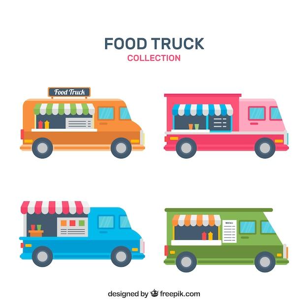 Retro pack of colorful food trucks