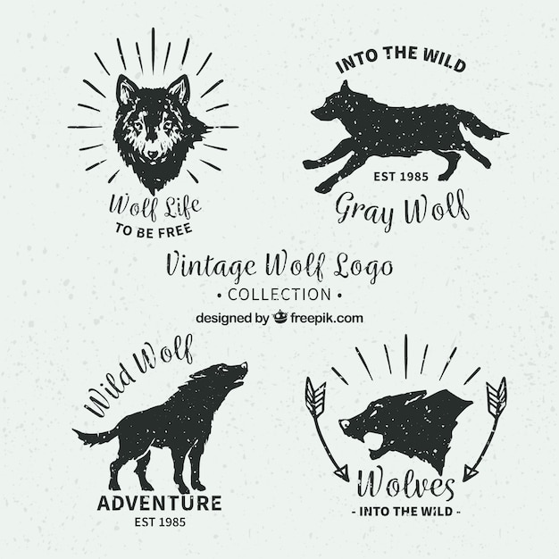 retro pack of hand drawn wolves logos vector free download