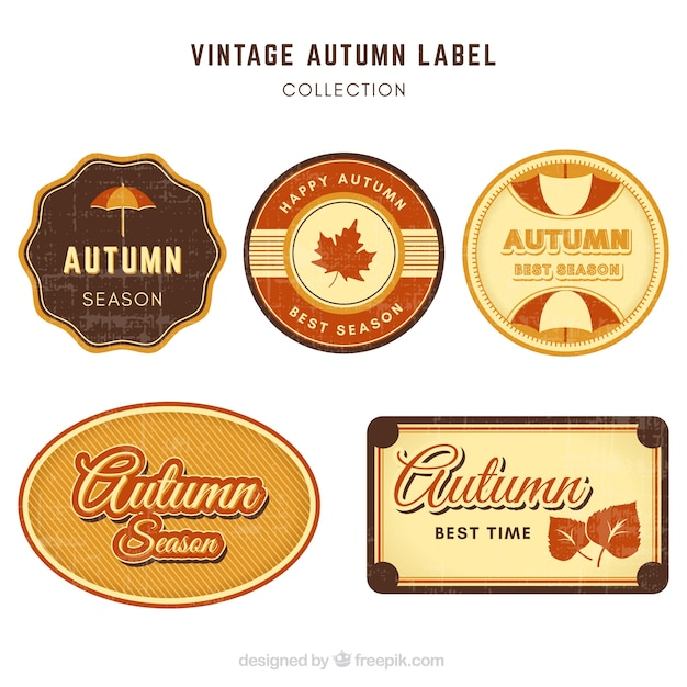 Retro pack of vintage autumn labels