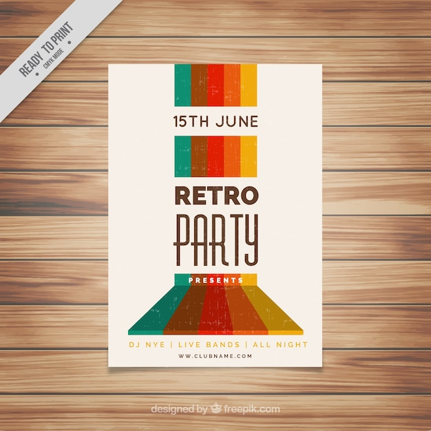 Retro party leaflet with colored forms Free Vector