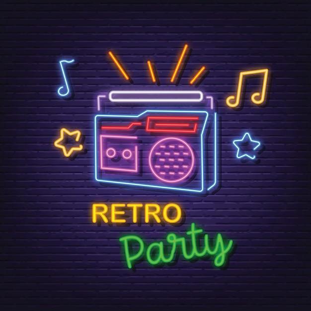 Retro party neon signboard Premium Vector