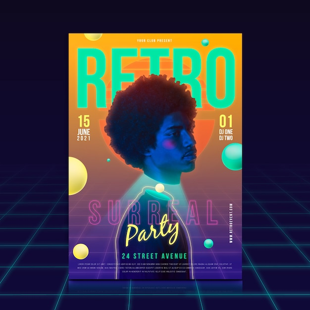 Retro party poster template concept Free Vector