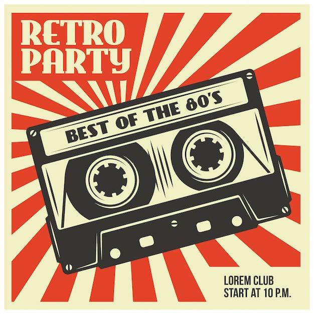 Retro party poster template with audio cassette Premium Vector