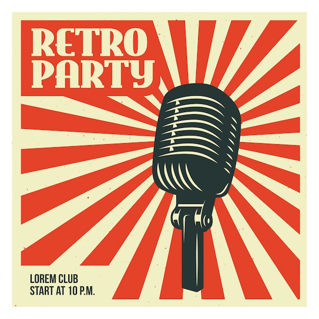 Retro party poster template with old microphone Premium Vector