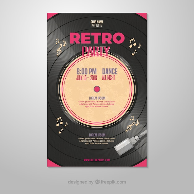 Retro party poster template with vinyl Free Vector