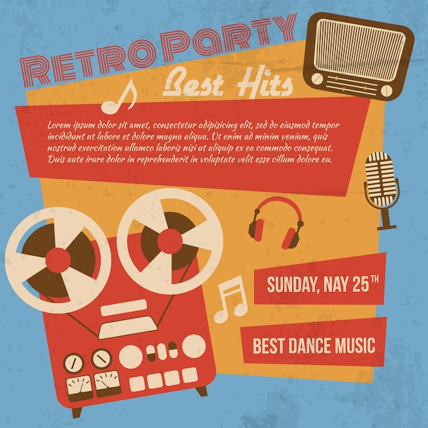 Retro party poster Free Vector