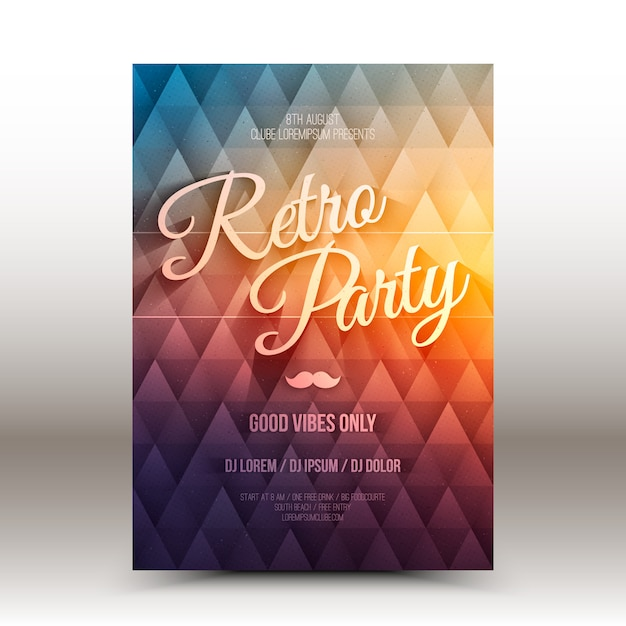 ベクターチラシデザインテンプレートretro party Premiumベクター