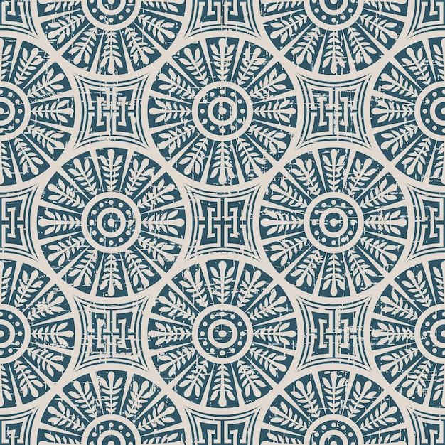 Retro pattern with round cross leaf geometry chain Premium Vector