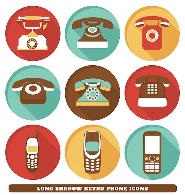 Retro phone icons Free Vector