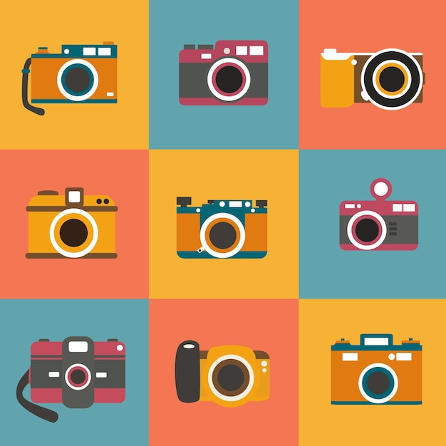 Retro photo cameras set Free Vector