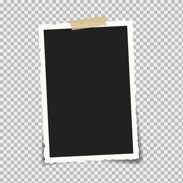 Retro photo frame on a white background. attached with adhesive tape or tape. Premium Vector