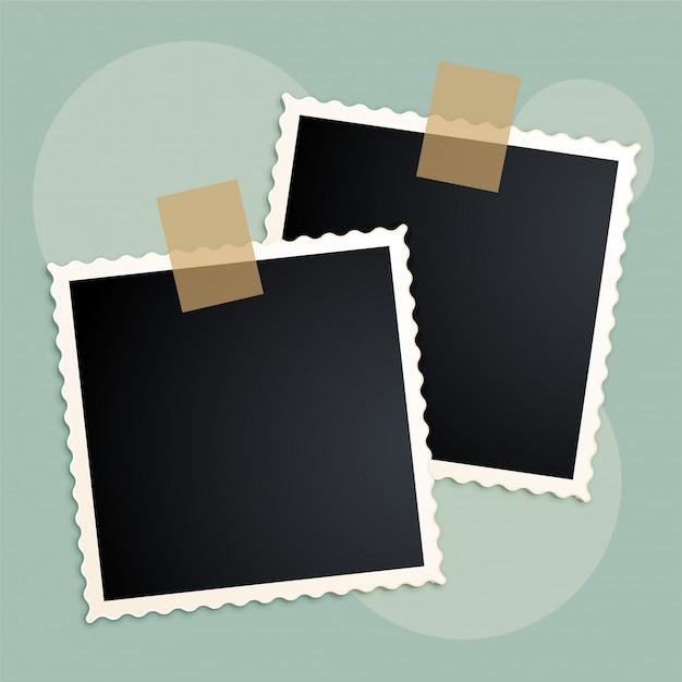 Retro photo frames scrapbook design Free Vector