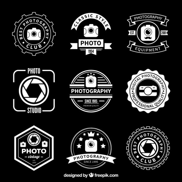 retro photography badges vector free download