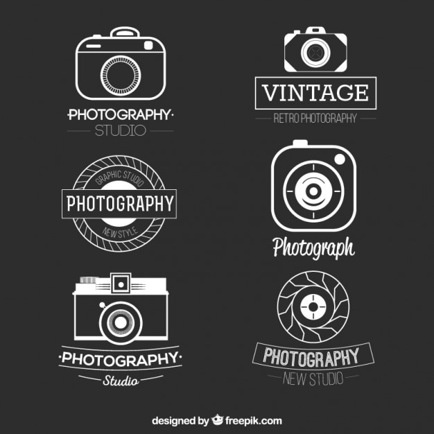 retro photography logos pack vector premium download