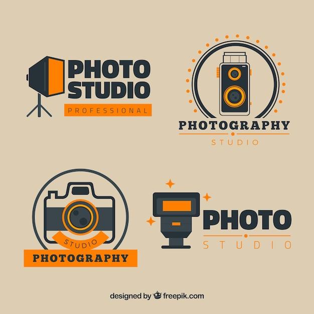 Retro photography logos pack Premium Vector