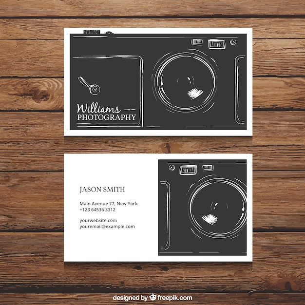 Retro photography visit card Free Vector