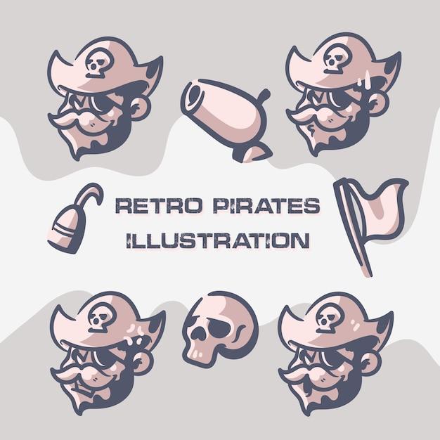 レトロな海賊のクリップアート Premiumベクター
