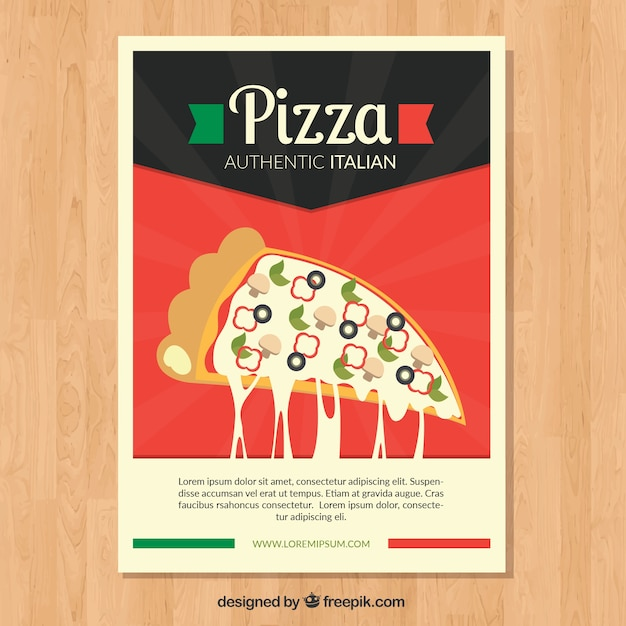 Retro pizza and cheese brochure