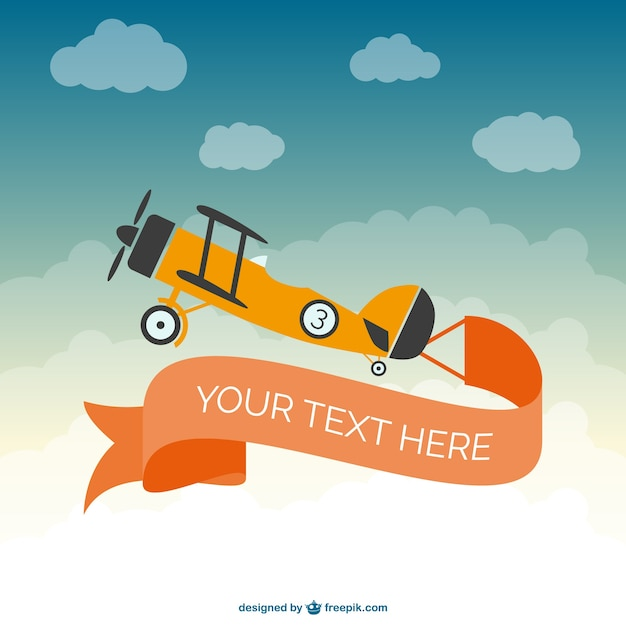 Retro plane with orange banner Vector | Free Download